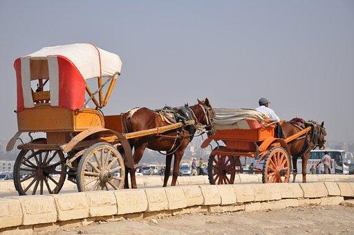 Carriage, Horse, Egypt, Pyramids, Tourist, Giza, Temple