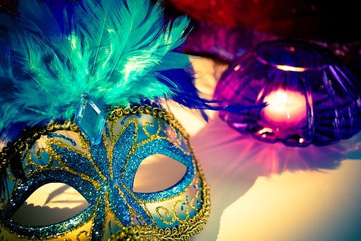 Venetian Mask, Candle, Feathers, Mask, Carnival, Venice