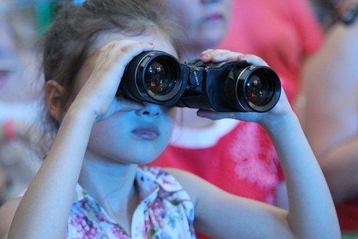 Binoculars, Girl, Concert, Viewer, Novorossiysk, Russia