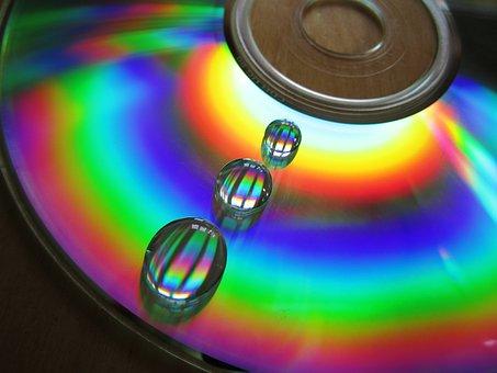 Water, Cd, Drip, Data Medium, Color, Lichtspiel