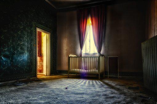 Apartment, Room, Space, Bed, Cot, Dark, Mysterious