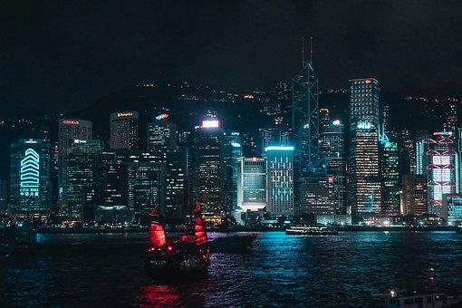 City, Night, Sea, Architecture, Buildings, Skyscraper