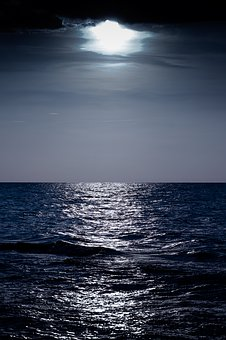 Night Sea, Moon, Sea, Ocean, Vertical, Cool, Dark, Blue