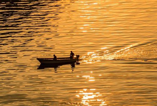 Sunset, Guatemala, Caribbean, Fishing, Boat, Nature
