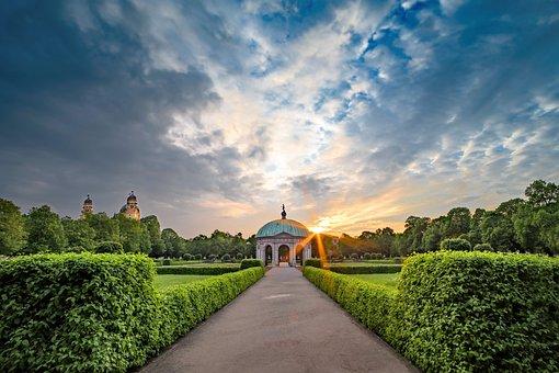 Park, Courtyard Garden, Munich, Garden, City, Sunset