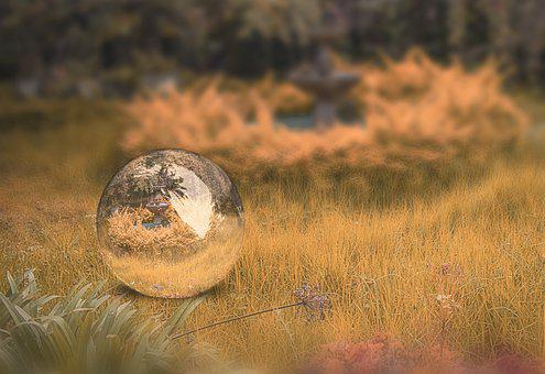 Ball, Landscape, Sky, Reflection, Fantasy, Glass