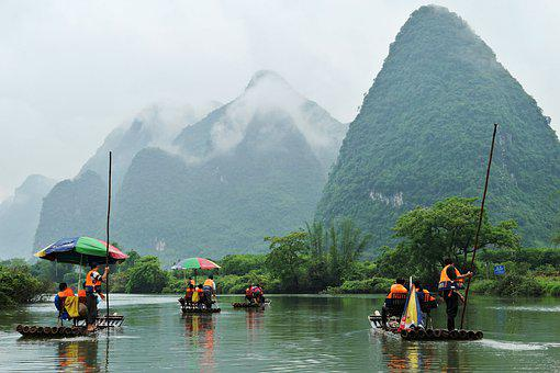 River, Mountains, Clouds, Haze, Rafts, Bamboo, Pole