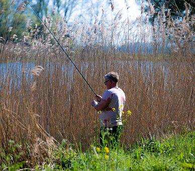 Fishing, Nature, Water, Landscape, Lake, Sky, Blue
