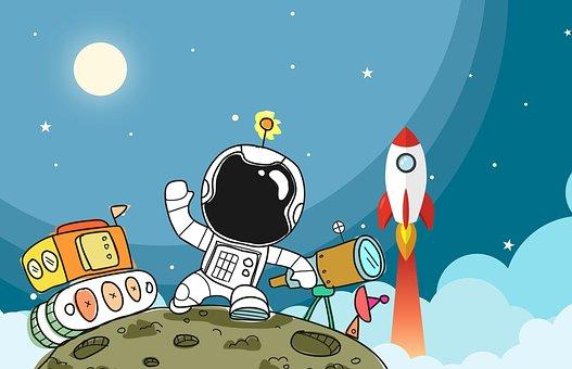 Spaceman, Spaceship, Space, Astronaut, Rocket, Moon