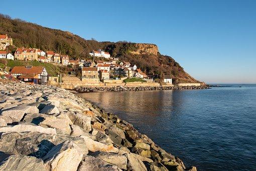 Runswick Bay, Village, Yorkshire, Coast, Sea Defences