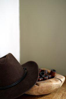 Hat, Pipe, Wood Bowl, Rustic, Brown