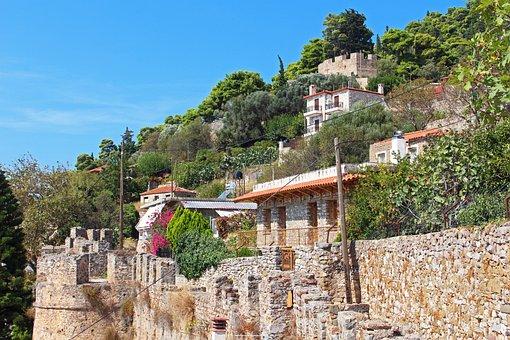 Greece, Nafpaktos, Stone Wall, Tourism