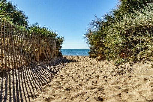 Away, Beach, Serignan, South Of France, Sand Beach
