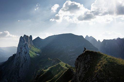 Switzerland, Alpine, Mountain, Man, Hike, Sky, Clouds