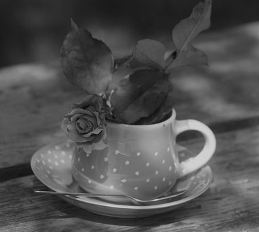 A Cup Of, Romance, Black And White, Cappuccino, Coffee