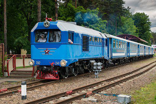 Locomotive, Diesel Locomotive, Rails, Train, Cars
