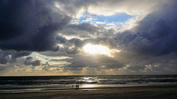 Drama, Sunset, North Sea, Beach, Sky, Dramatic, Clouds