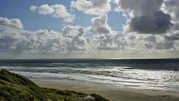 Horizon, North Sea, Dune, Sky, Clouds, Dramatic, Mood