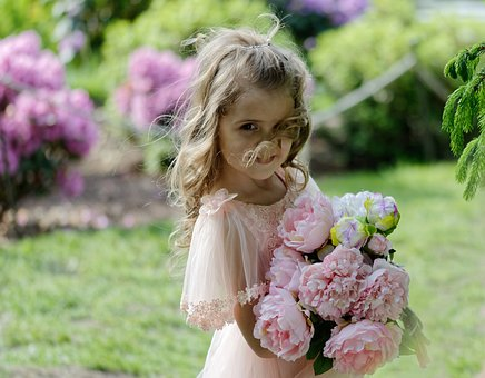 Girl, Small, Flowers, Child, The Person, Female, Happy