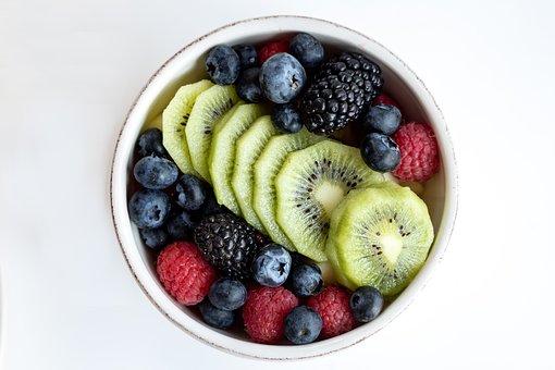 Breakfast, Fruit, A Bowl Of Fruit, Blueberries, Kiwi