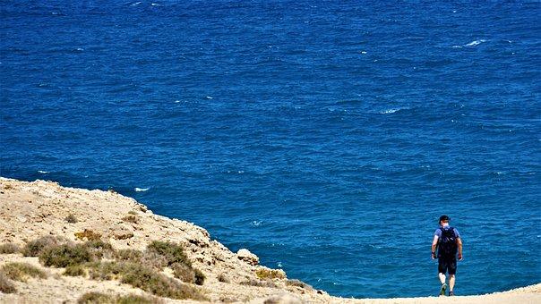 Man, Ocean, Hiking, Sea, Nature Reserve, Island, Coast