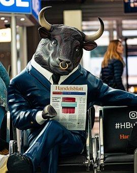 Bull, Newspaper, Art, Airport Suit