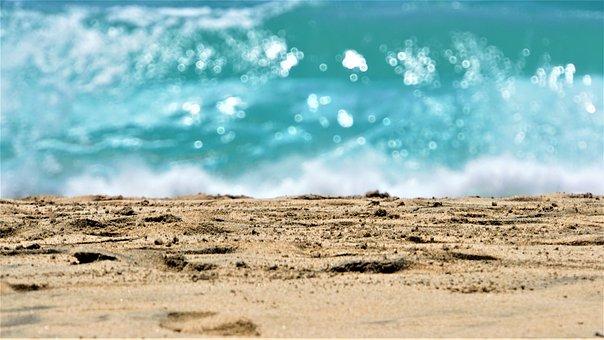 Beach, Sea, Ocean, Sand, Footprints, Island