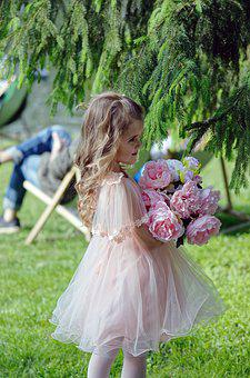 Girl, Small, Girlie, Flowers, Park, Nature, Conifer