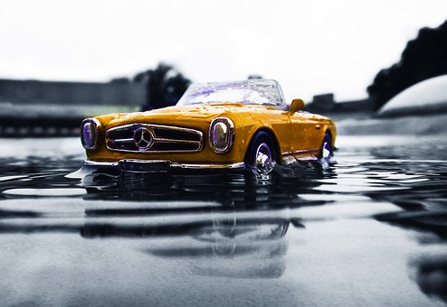 Mercedes Benz, Yellow, Vintage, Vehicle, Traffic