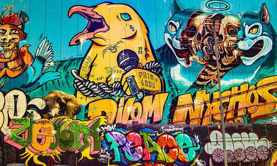 Graffiti, Street Art, Mountains, Wall