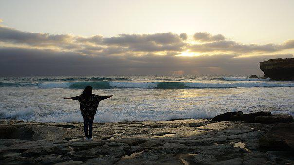 Woman, Sunset, Sea, Ocean, Island, Silhouette, Freedom