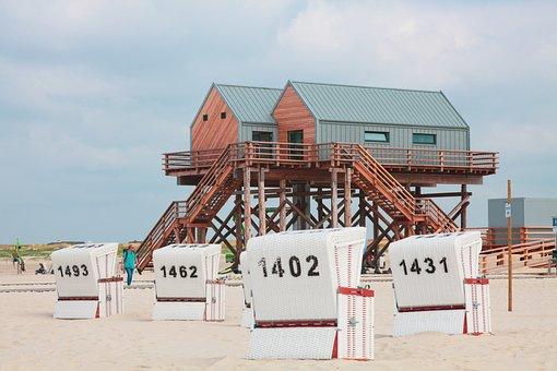 Pile Construction, North Sea, Spo, Beach Chair, Mood