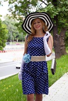 Woman, Hat, Gait, Park, Handbag, In The Summer Of