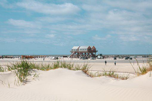 Pile Construction, North Sea, Dunes, Beach, Spo, Mood
