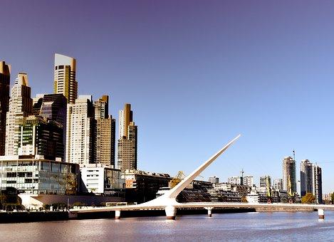 City, Water, Architecture, Urban, Lights, Tourism