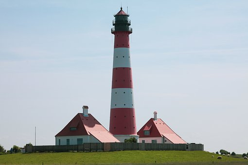 Westerhever, Lighthouse, North Sea, Mecklenburg