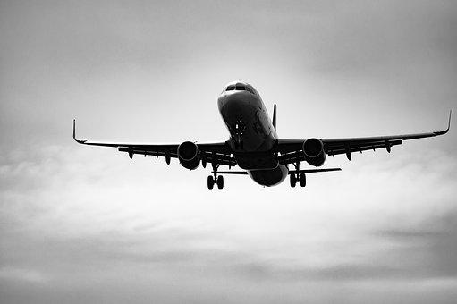 Black And White, Airplane, Aircraft, Sky