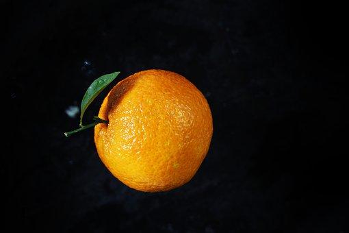Black, Orange, Background, Fruit, Fresh, Isolated