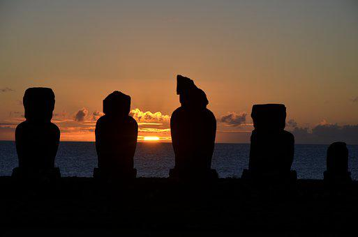 Sunset, Moai, Easter Island, Chile, Polynesia