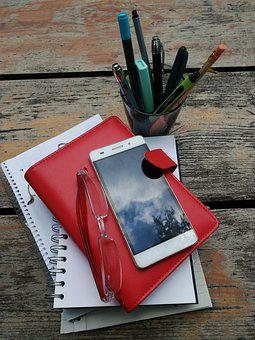 Phone, Diary, Pencil, Write, Workbook