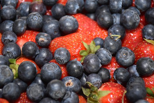 Fruits, Blueberries, Strawberry, Red, Blue, Berry