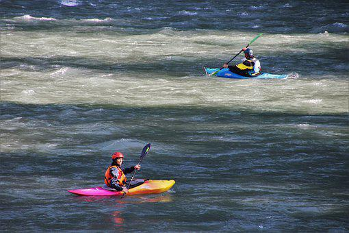 Rhine, Sport, Kayaks, Current, Water, River, Two