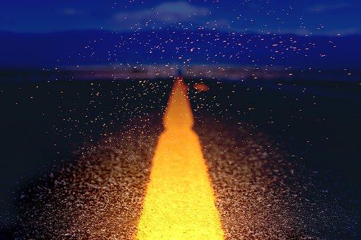 Road, Away, Light, Mica, Shining, Clouds, Evening, Mood