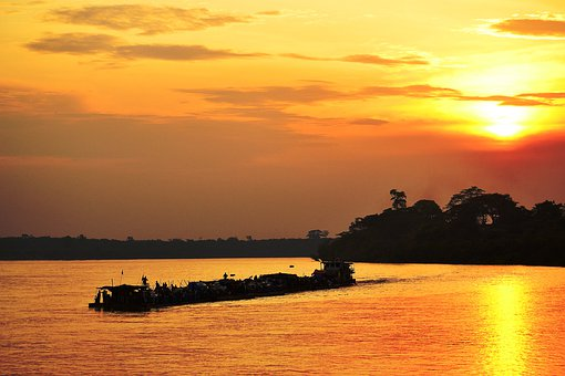 Kisangani, Drc, Democratic Republic Of Congo, Barge