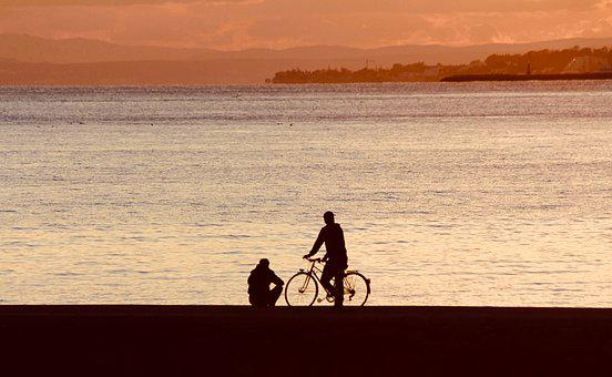 Bicycle, Bike, Trip, Sunset, Relax, Share, Communicate