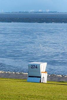 Beach Chair, Green Beach, Büsum, North Sea, Grass Beach