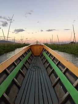 Boat, Inle Lake, Burma, Mynamar, Sunset, Beautiful