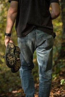 Jeans, Levis, Man, Walking, Barefoot, Nature Hiking