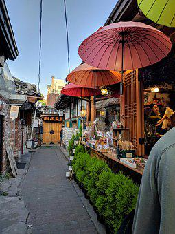 Our First Move, Alley, Seoul, Sky, Shop, Umbrella