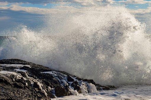 Wave, Smashing, Sea, Energy, Nature, Wind, Spray, Power